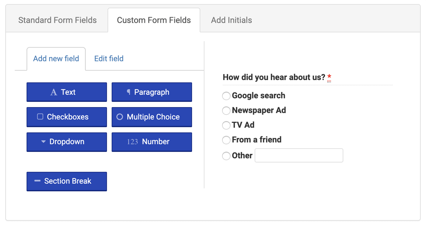 Setup custom waiver form questions with the form builder