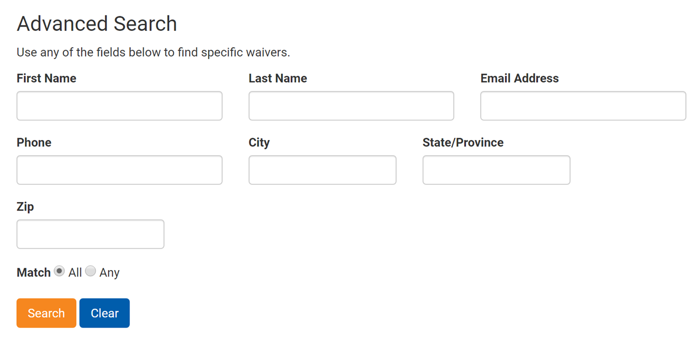 Advanced waiver search form