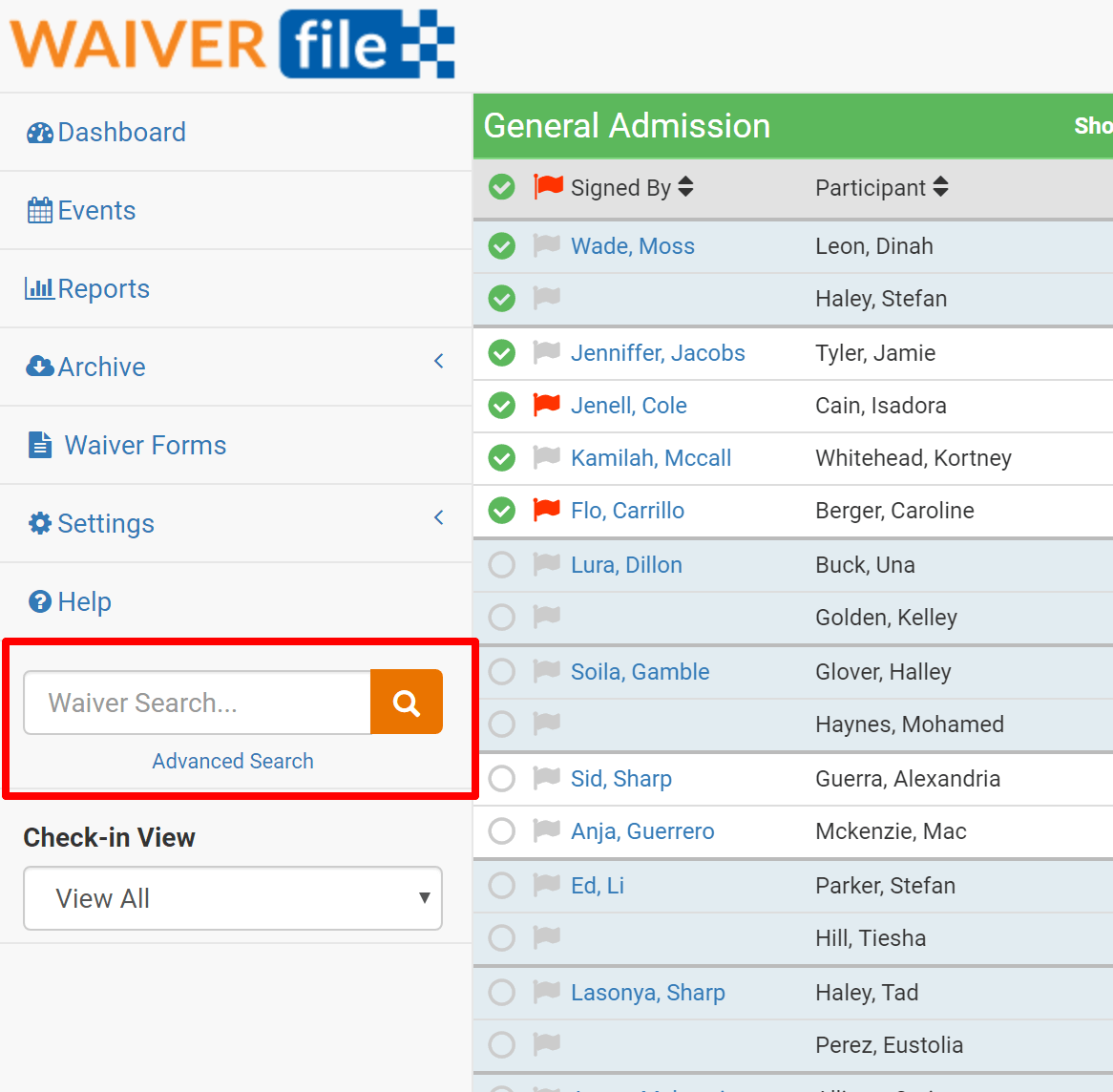 Waiver Search location