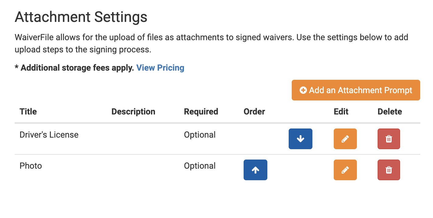 Setting up waiver form file attachments