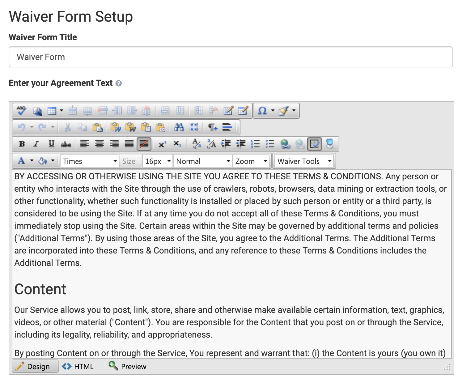 Setup waiver form with the rich text editor
