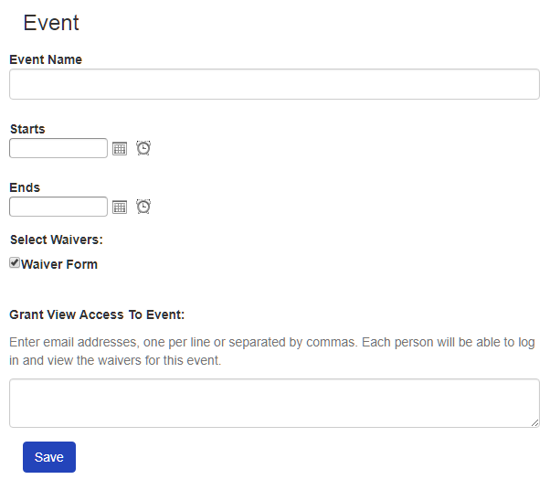 Create a Waiver Event