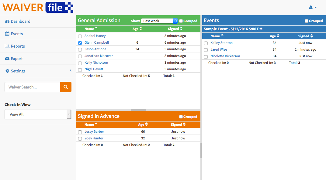 WaiverFile check-in dashboard