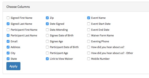 Waiver Reports with Custom Columns