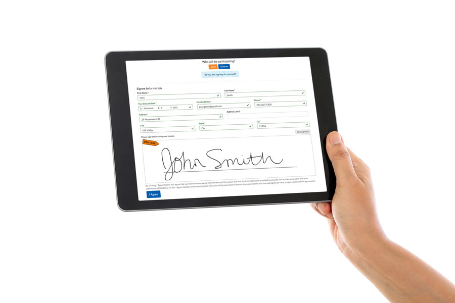 Signing waivers on an ipad