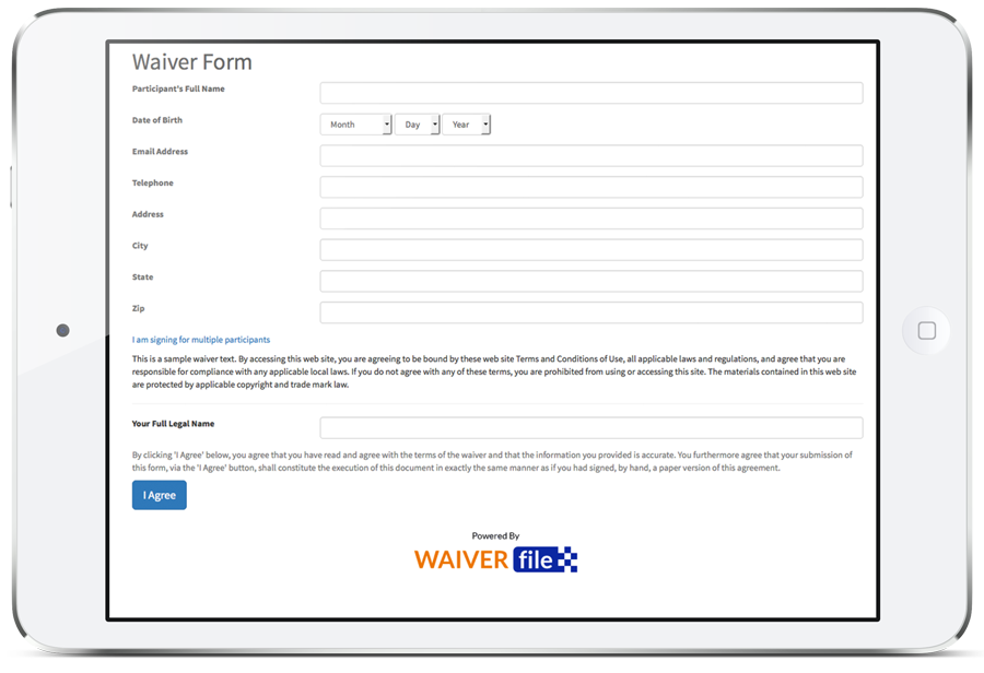 Waiver Form Entry on an iPad